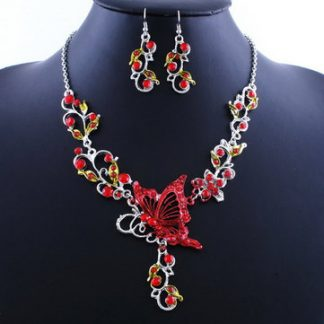 Crystal Butterfly Earrings Necklace Women Jewelry Set