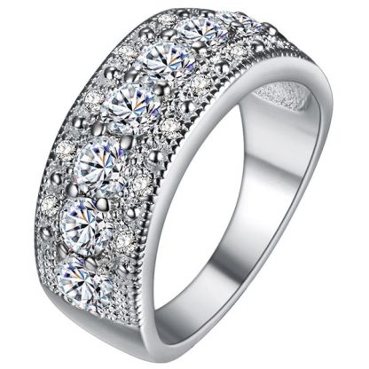 Cubic Zirconia Crystal Women Ring 925 Sterling Silver Plated