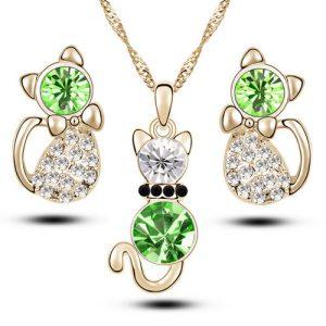 Cute Crystal Cat Necklace Earrings Women Fashion Jewelry Set