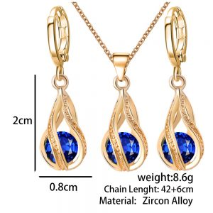 Pretty Crystal Dangle Earrings Pendant Necklace Women Fashion Jewelry Set