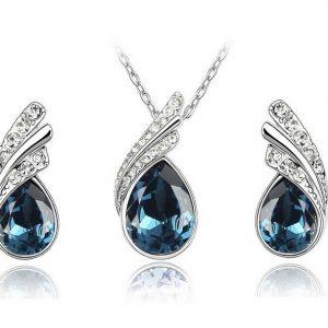 Elegant Crystal Rhinestone Earrings Pendant Necklace Women Jewelry Set