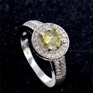 Beautiful Classic Green Round Ring Women Fashion Jewelry