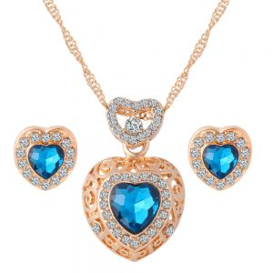 Classic Crystal Heart Earrings Pendant Necklace Women Fashion Jewelry Set