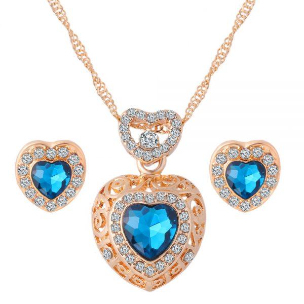 Classic Crystal Heart Earrings Pendant Necklace Women Fashion Jewelry Set