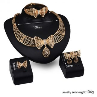 Rhinestone Butterfly Necklace Bracelet Earrings Ring Women Jewelry Set