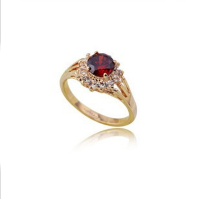 Elegant Classic ITALINA Red Gem Rings 18 K Gold Plated-Gold Red