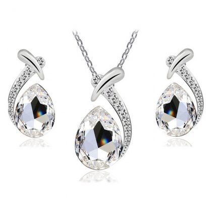 Fabulous Crystal Earrings Pendant Necklace Women Jewelry Set