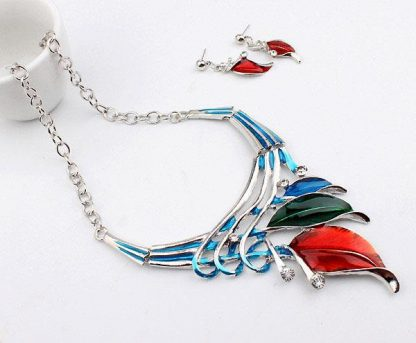European Fashion Leaves Necklace Earrings Women Jewelry Set