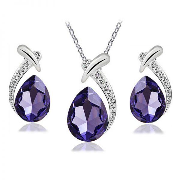 Fabulous Crystal Earrings Pendant Necklace Women Jewelry Set