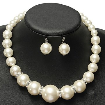 Crystal Pearl Necklace Earrings Women Fashion Jewelry Set