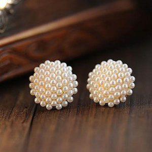 Small Faux Pearls Bundle Stud Earrings Women Fashion Jewelry