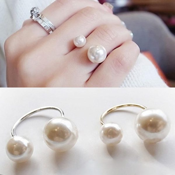 Amazing Double Pearls Adjustable Women Fashion Ring Golden-Silvery