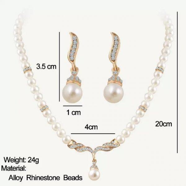 Beautiful Crystal Pearl Earrings Pendant Necklace Jewelry Set