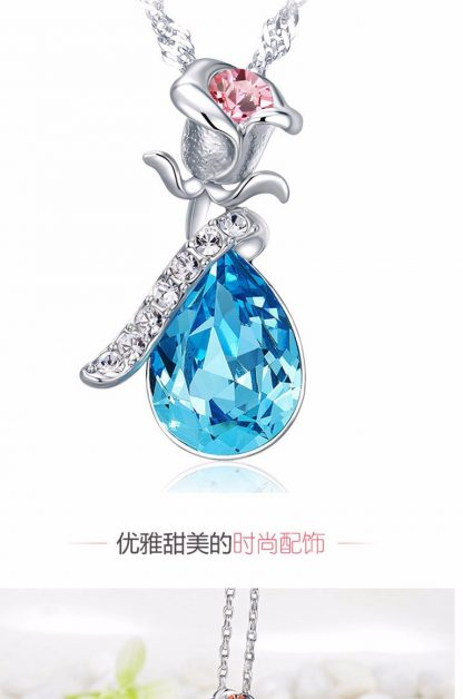 Sweet Crystal Rhinestone Rose Pendant Necklace Women Fashion Jewelry