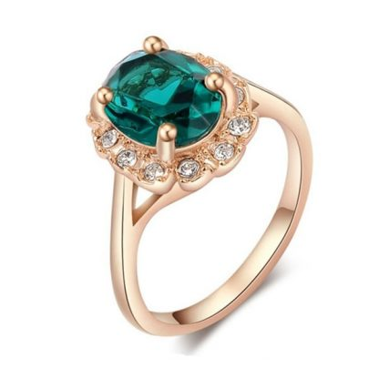 Beautiful Roxi Crystal Bridal Ring Rose Gold Women Ring-Green