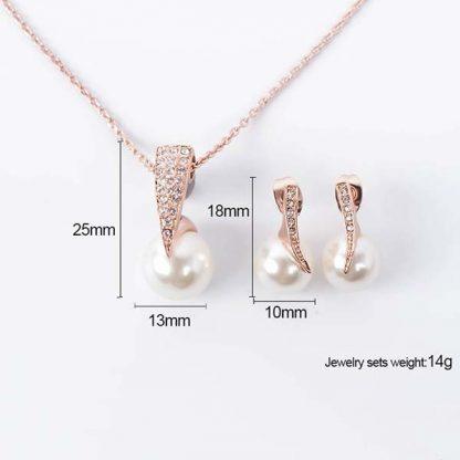 Crystal Pearl Necklace Earrings Women Jewelry Set