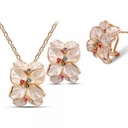 Crystal Flower Earrings Pendant Necklace Set Women Fashion Jewelry