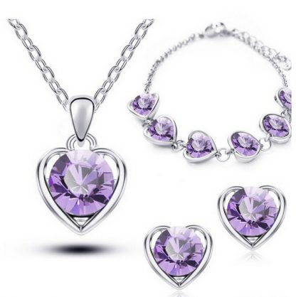 Crystal Heart Earrings Bracelet Pendant Necklace Women Jewelry Set