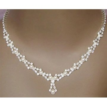 Bridal Crystal Pearl Silvery Necklace Earrings Jewelry Set