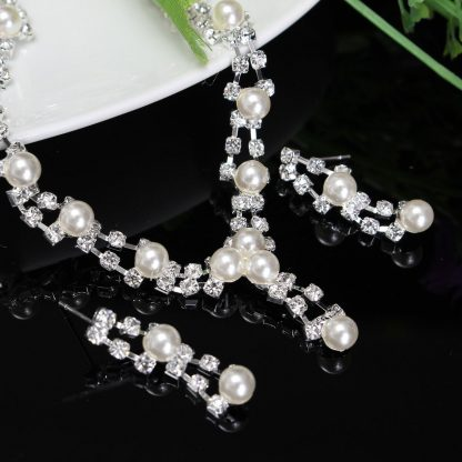 Bridal Crystal Pearl Silvery Necklace Earrings Fashion Jewelry Set