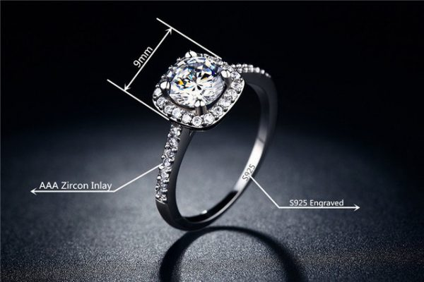 Sparkling Cubic Zirconia Platinum Plated Ring Women Fashion Jewelry