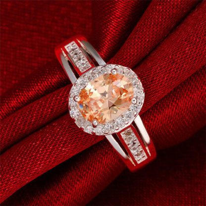 Luxury Cubic Zirconia Silver Plated Ring Women Fashion Jewelry