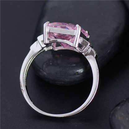 Purple Cubic Zirconia Silver Plated Ring Women Fashion Jewelry