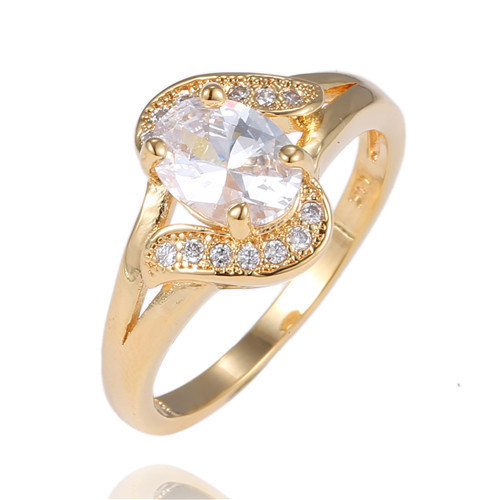 Fancy Bridal Crystal Gold Plated Ring Women Fashion Jewelry