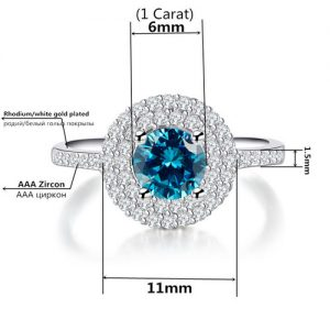 Blue Cubic Zirconia Rhodium Ring Women Fashion Jewelry