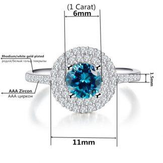 Blue Cubic Zirconia Rhodium Ring Women Fashion Jewelry