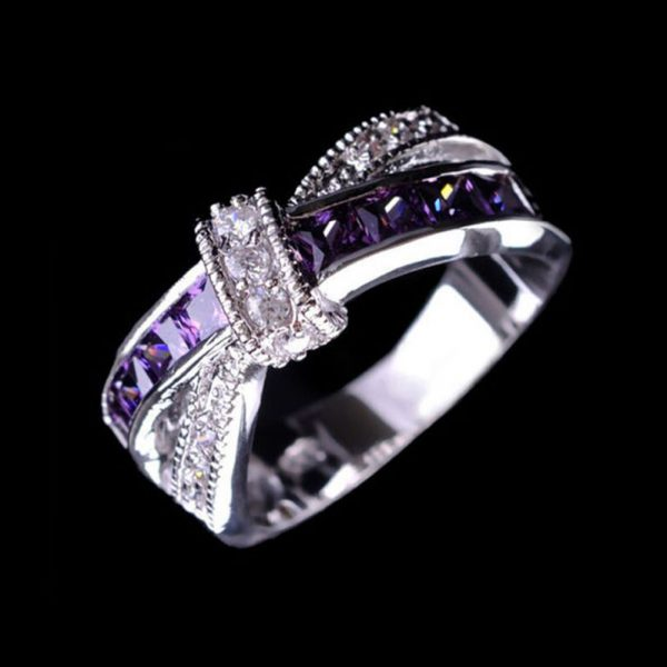 Elegant Purple Cubic Zirconia Ring Women Fashion Jewelry