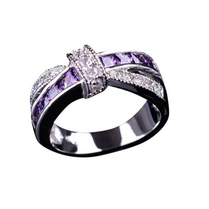 Elegant Purple Cubic Zirconia Ring Women Fashion Jewelry